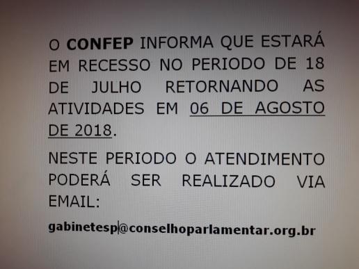 CONFEP INICIA RECESSO .